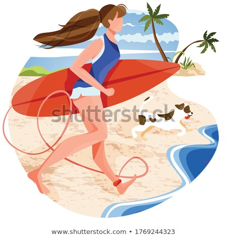 young woman holding her surfing board Stock photo © photography33
