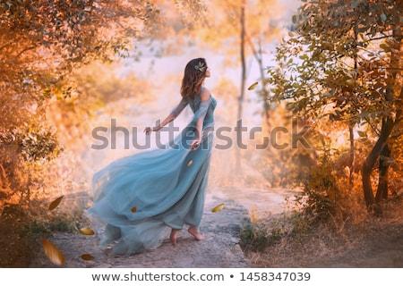 vintage beautiful woman in silk dress stock photo © carlodapino