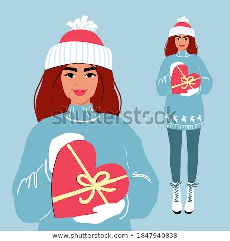 romantische · winter · meisje · sneeuw · dame · mode - stockfoto © carodi