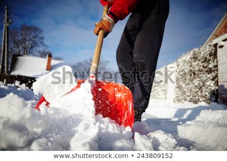 Stockfoto: Sneeuw · schop · hout · achtergrond · schone · tool