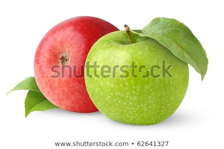 dois · verde · maçãs · gotas · de · água · isolado - foto stock © ozaiachin