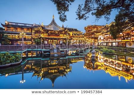 Sjanghai tuin China oude huizen Stockfoto © billperry