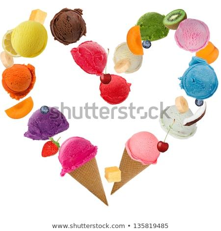 Helado corazón blanco alimentos verano fresa Foto stock © Kesu