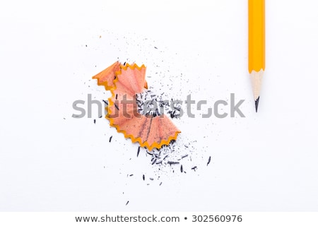 Stock photo: Closeup of pencil shaving isolated on white background.