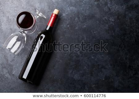 Stockfoto: Rode · wijn · fles · bril · geïsoleerd · witte · partij