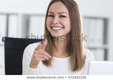 улыбаясь · указывая · указательный · палец · выбора · человек - Сток-фото © fantasticrabbit