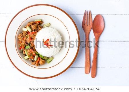Bourré porc filet tomates basilic côté Photo stock © phila54