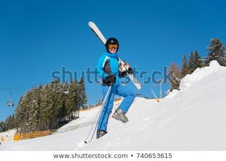 Síelő snowbordos hordoz viselet alpesi tél Stock fotó © Kzenon