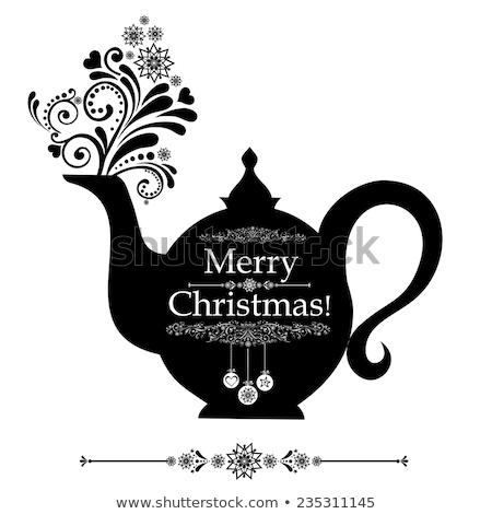 floral designed tea pot tea time illustration stock photo © kari-njakabu