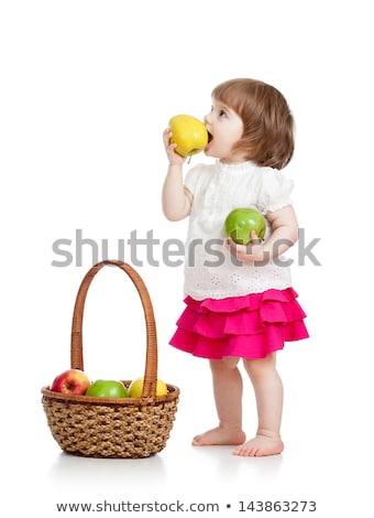 feliz · nino · fruta · fresca · aislado · blanco · cute - foto stock © nejron