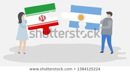 Iráni zászlók puzzle izolált fehér futball Stock fotó © Istanbul2009