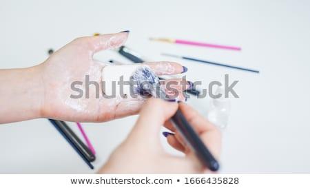 portrait · jeune · femme · coton · femme · main · beauté - photo stock © novic
