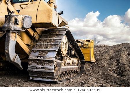 Bulldozer oranje werk blauwe hemel bouw Blauw Stockfoto © fogen