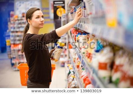 Stockfoto: Jonge · vrouw · winkelen · granen · kruidenier · supermarkt · mooie