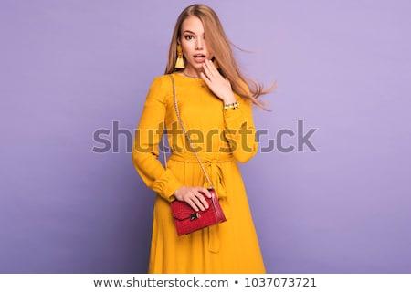 Szőke nő visel nyár ruha szőke hölgy Stock fotó © konradbak