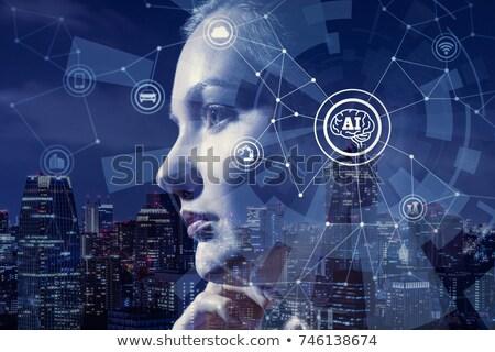 Foto stock: Inteligência · artificial · robô · mulher · feminino · cérebro · cabeça