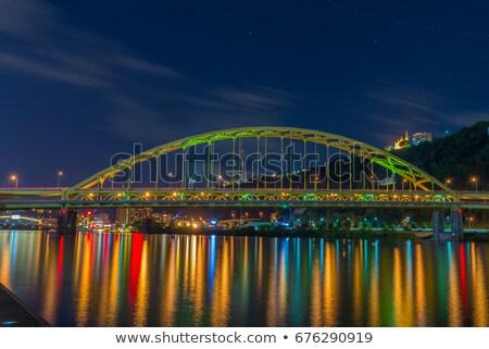 nehir · köprü · gece · yansıma · su · akşam · karanlığı - stok fotoğraf © jameswheeler