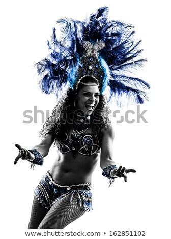 Egy nő szamba táncos fehér tánc fekete Stock fotó © HASLOO