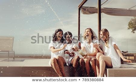 Młodych oblubienicy taras lasu piękna Zdjęcia stock © majdansky