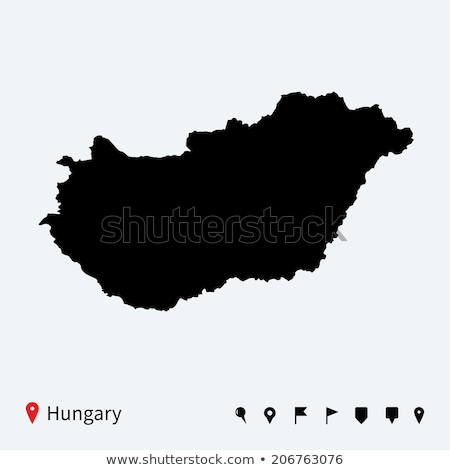 fekete · Magyarország · térkép · adminisztratív · köztársaság · diagram - stock fotó © tkacchuk