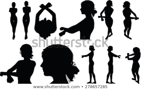 woman silhouette with hand gesture handcuffed Stock photo © Istanbul2009