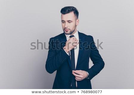 yakışıklı · gündelik · iş · adamı · saç · yandan · görünüş - stok fotoğraf © feedough