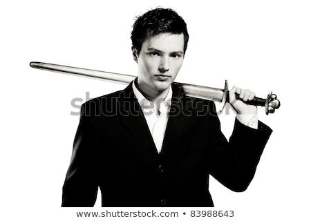 Biznesmen miecz biały człowiek tle korporacyjnych Zdjęcia stock © Elnur