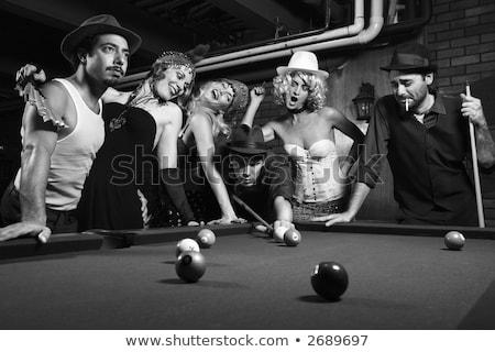 Retro · kadın · havuz · salon · kafkas · yetişkin - stok fotoğraf © iofoto
