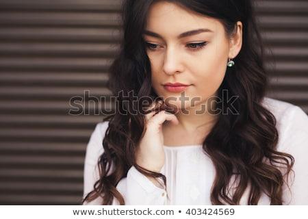 Deprimido mulher profundo pensamento ao ar livre Foto stock © igor_shmel