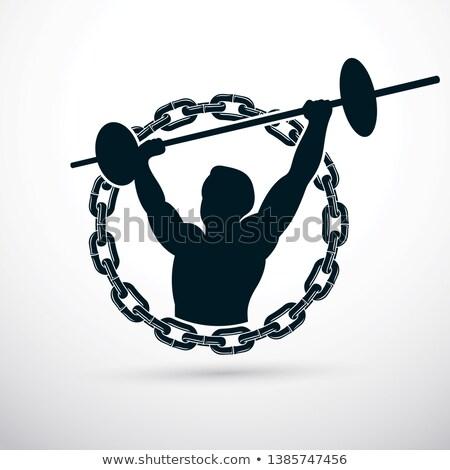 фитнес · мышечный · человека · штанга · портрет - Сток-фото © deandrobot