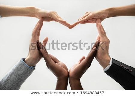 Stockfoto: Zakenlieden · team · helpende · hand · silhouet · twee