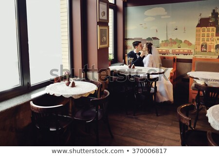fiance with the bride in the cafe Stock photo © Paha_L