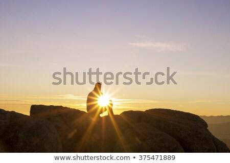 男 を見て 山 雲 ピーク アルプス山脈 ストックフォト © crampinini