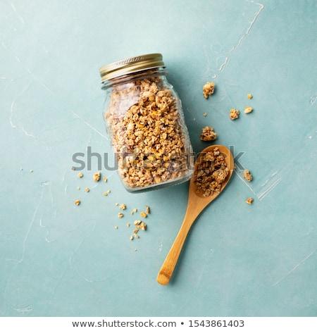 vidrio · jar · muesli · aislado · blanco · comer - foto stock © elenaphoto