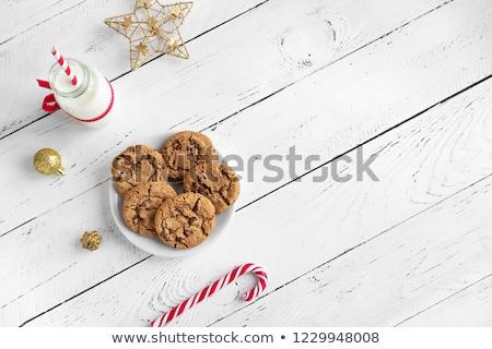 cookies · melk · glas · tabel · vakantie - stockfoto © photohome