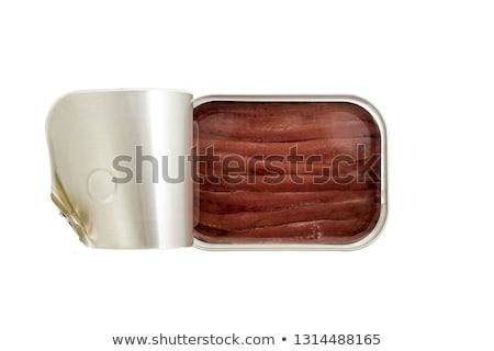 Dobozos sózott olaj közelkép filé étel Stock fotó © zkruger