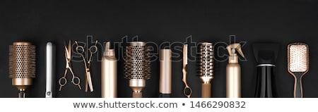 инструменты · ножницы · щетка · для · волос · блокировка · волос · изолированный - Сток-фото © milanmarkovic78