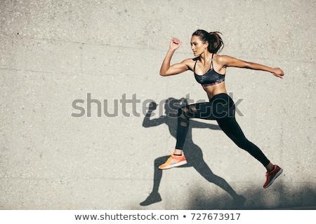 Stockfoto: Lopen · vrouw · buitenshuis · activiteit · bos · kruis