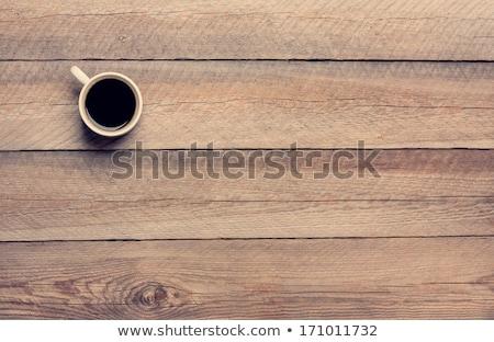 ブラックコーヒー · 白 · マグ · 木製のテーブル · 現代 - ストックフォト © petrmalyshev