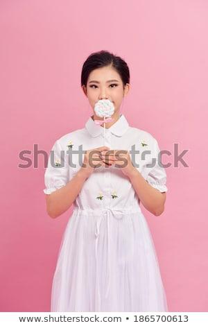 Grappig cute jonge vrouw gedekt mond lolly Stockfoto © deandrobot