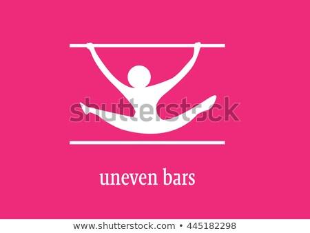 Jimnastik dengesiz çubuklar ikon renkler örnek Stok fotoğraf © bluering