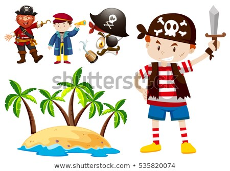 Pirate and crew with island scene Stock photo © bluering