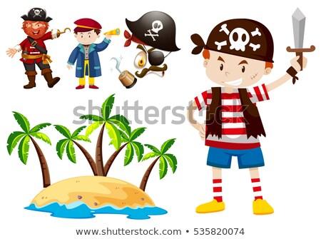 Pirata tripulação ilha cena ilustração mar Foto stock © bluering