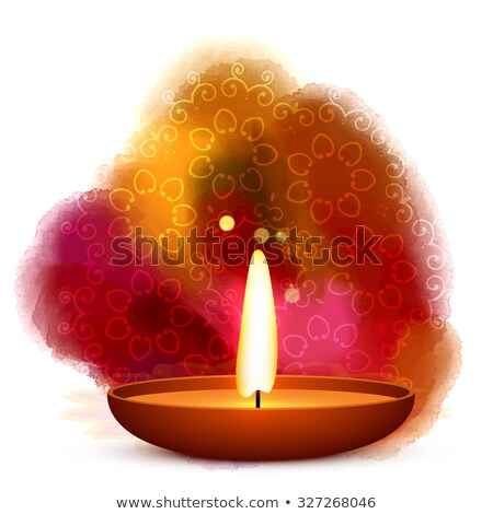 Zdjęcia stock: Diwali Diya Placed In Water Color Background Vector