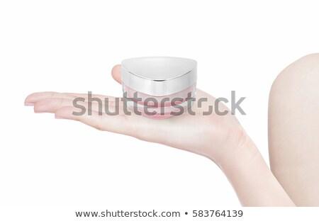 Pembe üçgen kozmetik kavanoz el yalıtılmış Stok fotoğraf © 7Crafts