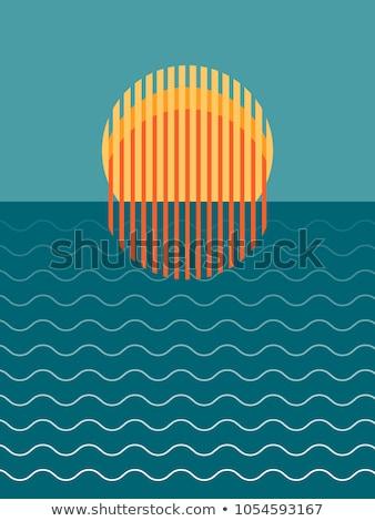 beautiful sunset sea vector illustration stock photo © carodi