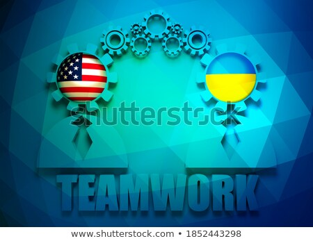 gear wheel and flag of the ukraine - 3d rendering Stock photo © drizzd