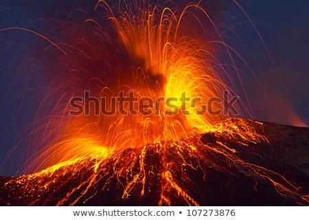 Kitörés vulkán éjszaka Stock fotó © meinzahn