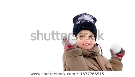 Oynayan çocuklar açık havada kış yalıtılmış beyaz kız Stok fotoğraf © NikoDzhi