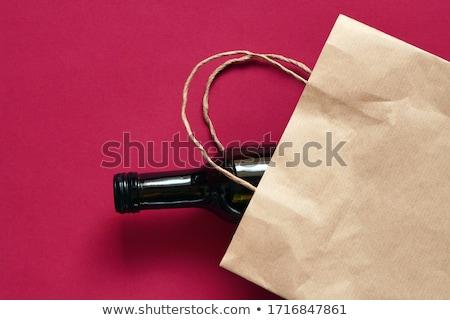 üveg · vörösbor · papírzacskó · ajándék · vásárolt · szeszes · ital - stock fotó © icemanj